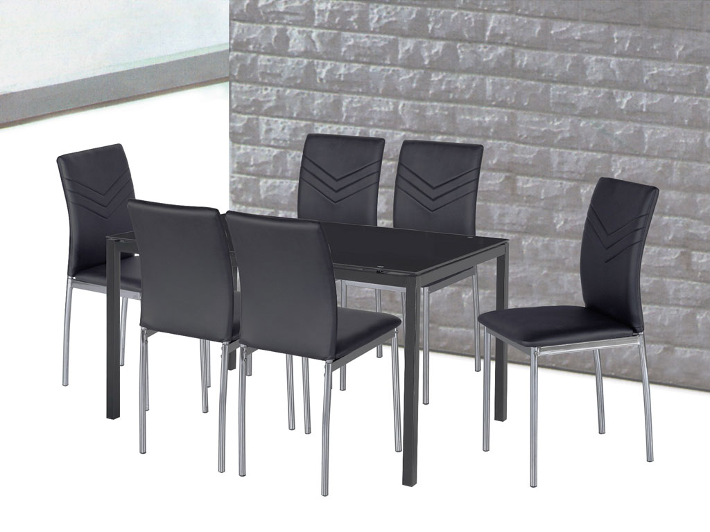 Dewfoam 6 Seater Dining Table Ldt 153 W Glass Top Cebu